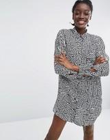 Monki Graphic Mini Shirt Dress