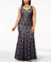 Betsy & Adam Plus Size Sweetheart Glitter Lace Gown