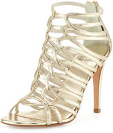 Stuart Weitzman Loops Leather Strappy Cage Sandal, Pale Gold