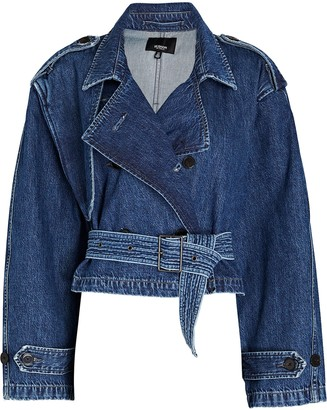 Hudson Cropped Denim Trench Jacket