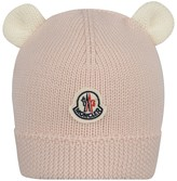 Moncler Baby Girls Pink Wool Knit Hat With Ears
