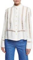 Derek Lam Long-Sleeve Open-Stitch Silk Crepe Blouse, White