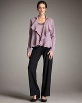 Eileen Fisher Wool Flutter Cardigan, Stretch-Silk Shell & Wide-Leg Wool Pants, Petite