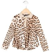 Roberto Cavalli Girls' Leopard Print Long Sleeve Top w/ Tags