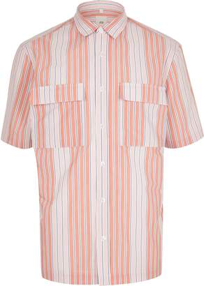 River Island Mens Pink stripe double pocket shirt