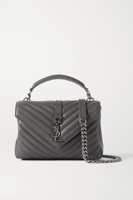 Saint Laurent College Medium Quilted Leather Shoulder Bag - Dark gray