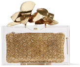 Charlotte Olympia Orchid Pandora Metallic Leather-trimmed Perspex Clutch - Gold