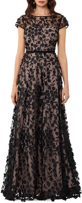 Xscape Evenings Floral Embroidered Tulle Gown