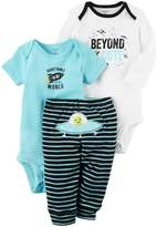 "Carter's Baby Boy Beyond Cute"" Bodysuit, Graphic Bodysuit & Striped Pants Set"