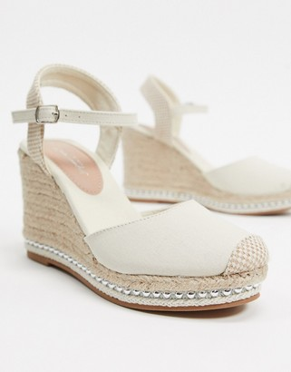 New Look beaded espadrille wedges in off white