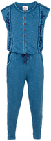Fat Face Girls' Embroidered Jersey Jumpsuit, Denim