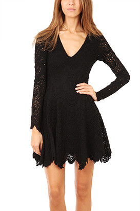 Nightcap Clothing Deep V Flirty Spanish Lace Dress
