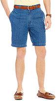 Roundtree & Yorke Flat-Front Side Elastic Waistband Denim Shorts