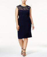 Betsy & Adam Plus Size Banded Lace Sheath Dress