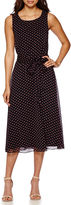 MSK Sleeveless Dot Print Belted Fit-and-Flare Dress