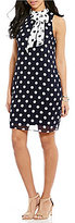 London Times Polka-Dot High Neck Shift Dress