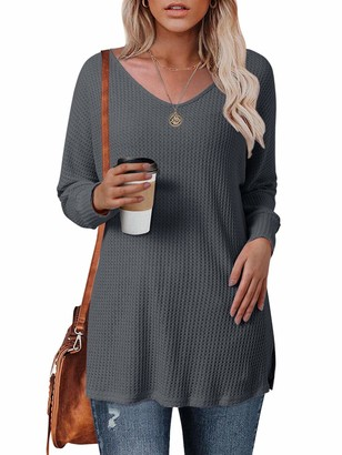 Style Dome Women's Sexy Oversized Jumper Shirt Dress Baggy Knitted Long Sleeve Top Pullover Sweatshirt Grey S