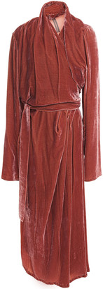 Rick Owens Draped Velvet Midi Wrap Dress