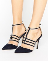 Paper Dolls Navy Cage T-bar Pointed Shoe