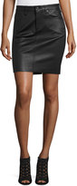 AG Jeans The Erin Leather Skirt, Black