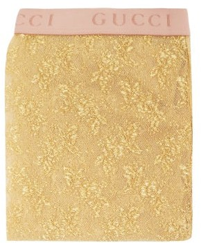 Gucci Floral Lame Tights - Gold
