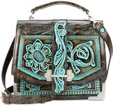 Patricia Nash Turquoise Tooled Stella Small Flap Shoulder Bag