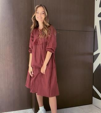 Vero Moda Petite smock midi dress with tie neck detail in burgundy
