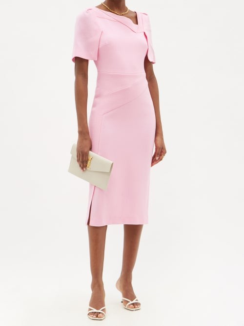 Thumbnail for your product : Roland Mouret Fenton Cape-back Wool-crepe Pencil Dress - Light Pink