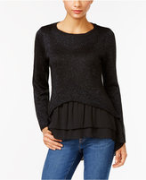 NY Collection Petite Metallic Layered-Look Sweater