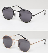 Asos Metal Round Sunglasses 2 Pack In Black And Rose Gold