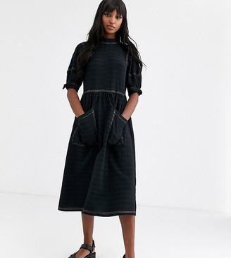 Asos Tall DESIGN Tall textured midi smock dress with tie sleeves