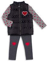 Betsey Johnson Girls 2-6x Sherpa Lined Vest, Tee and Leggings Set