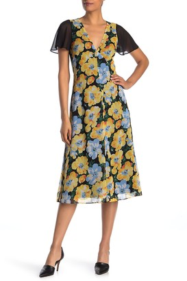 Club Monaco Coan Floral Cutout Back Chiffon Midi Dress