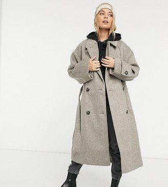 ASOS DESIGN Petite brushed twill trench coat in gray