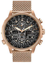 Citizen Jy8033-51e Promaster Navihawk Eco-drive Chronograph Mesh Bracelet Strap Watch, Rose Gold/black