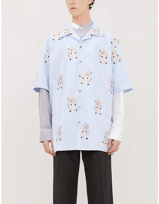 Gucci Pig-pattern camp-collar cotton shirt