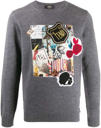 Fendi collage patch jumper
