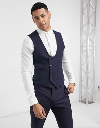 ASOS DESIGN wedding super skinny wool mix suit suit vest in navy herringbone