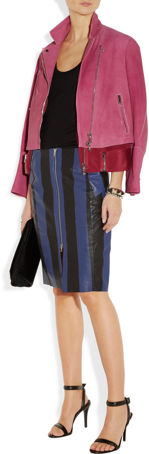 Acne Voila Stripe textured-leather pencil skirt