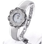 Badgley Mischka Women's BA/1363MPSV Swarovski Crystal Accented Silver-Tone Bangle Watch