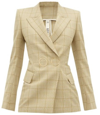 Petar Petrov Joiner Double-breasted Checked Wool Jacket - Womens - Brown Multi