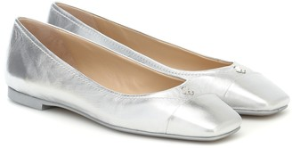 Jimmy Choo Gisela metallic-leather ballet flats