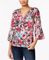 Kensie Floral-Print Bell-Sleeve Top