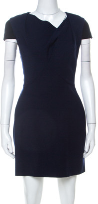 Roland Mouret Navy Blue & Black Wool Blend Draped Neck Sheath Dress S