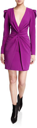 Sachin + Babi Agnes Plunge V-Neck Long-Sleeve Twist-Front Mutton Dress