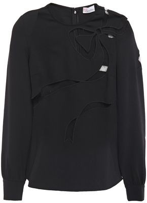 RED Valentino Point D'esprit-trimmed Crepe Top