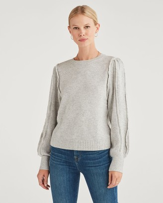 7 For All Mankind Merino Wool and Cashmere Fringe Sleeve Pullover in Heather Grey