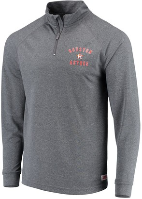 Stitches Men's Heathered Charcoal Houston Astros Team Raglan Quarter-Zip Pullover Jacket