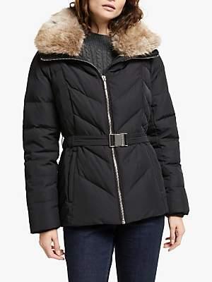 Michael Kors MICHAEL Faux Fur Trim Quilted Jacket