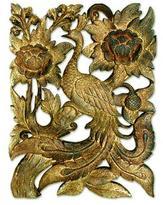 Teak relief panel, 'Golden Peacock'